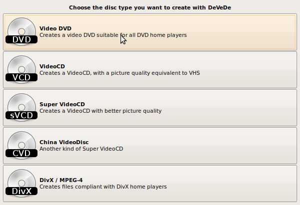 Select Disc Type - DeVeDe